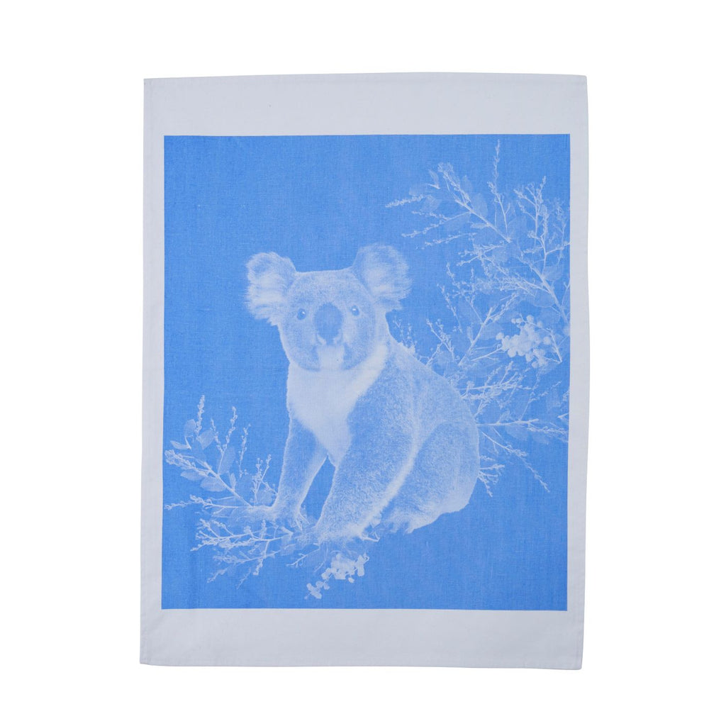Tea Towel Koala Light Blue Cotton
