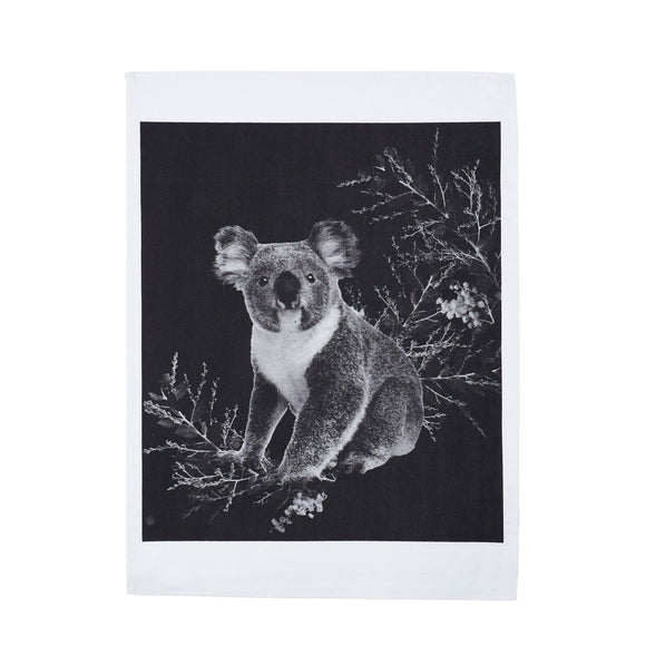 Tea Towel Koala Black Cotton