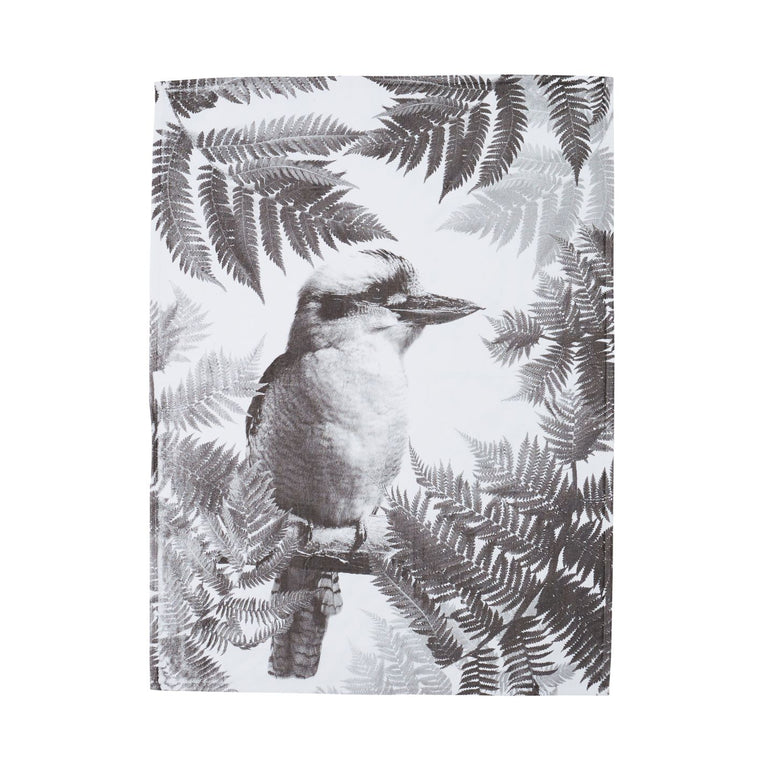 Tea Towel Kooka Fern Black Cotton