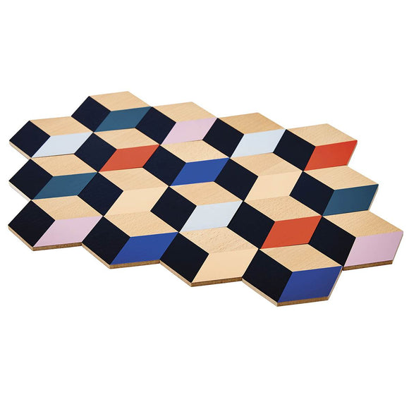A set of 6 geometric stylised table coasters. Made to look like cubes, they feature Natural wood, as well as black, blue, white, orange, pink and peach painted diamonds