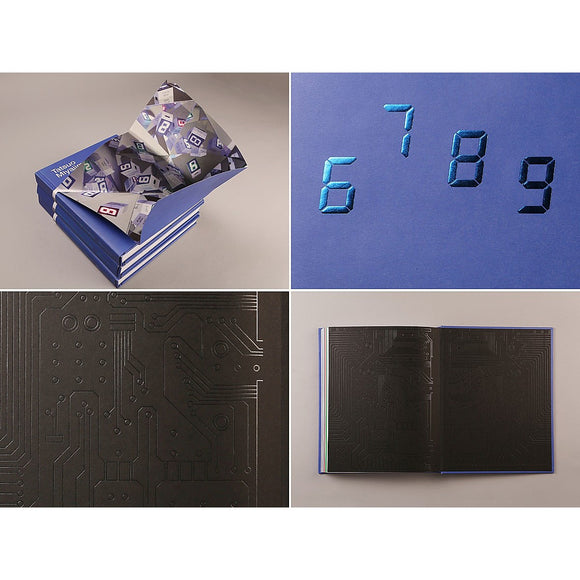 "A catalogue for the exhibition "" Connect with Everything"" by Tatsuo Miyajima. The cover is blue and features embossed digital style numbers."