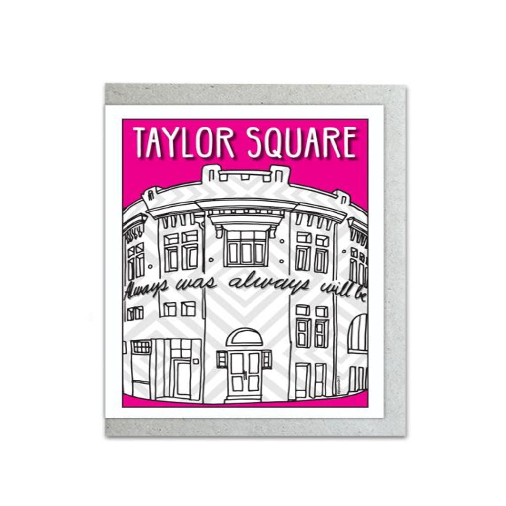 full colour detailed view of Taylor Square illustration by Jacqui Duncan