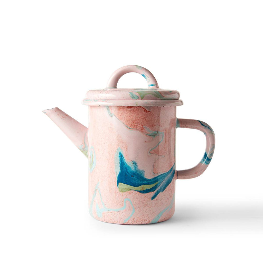 An enamel teapot  with beautiful marbled enamel in a range of contrasting tones of Turqouise and Green on a Blush Pink Base.