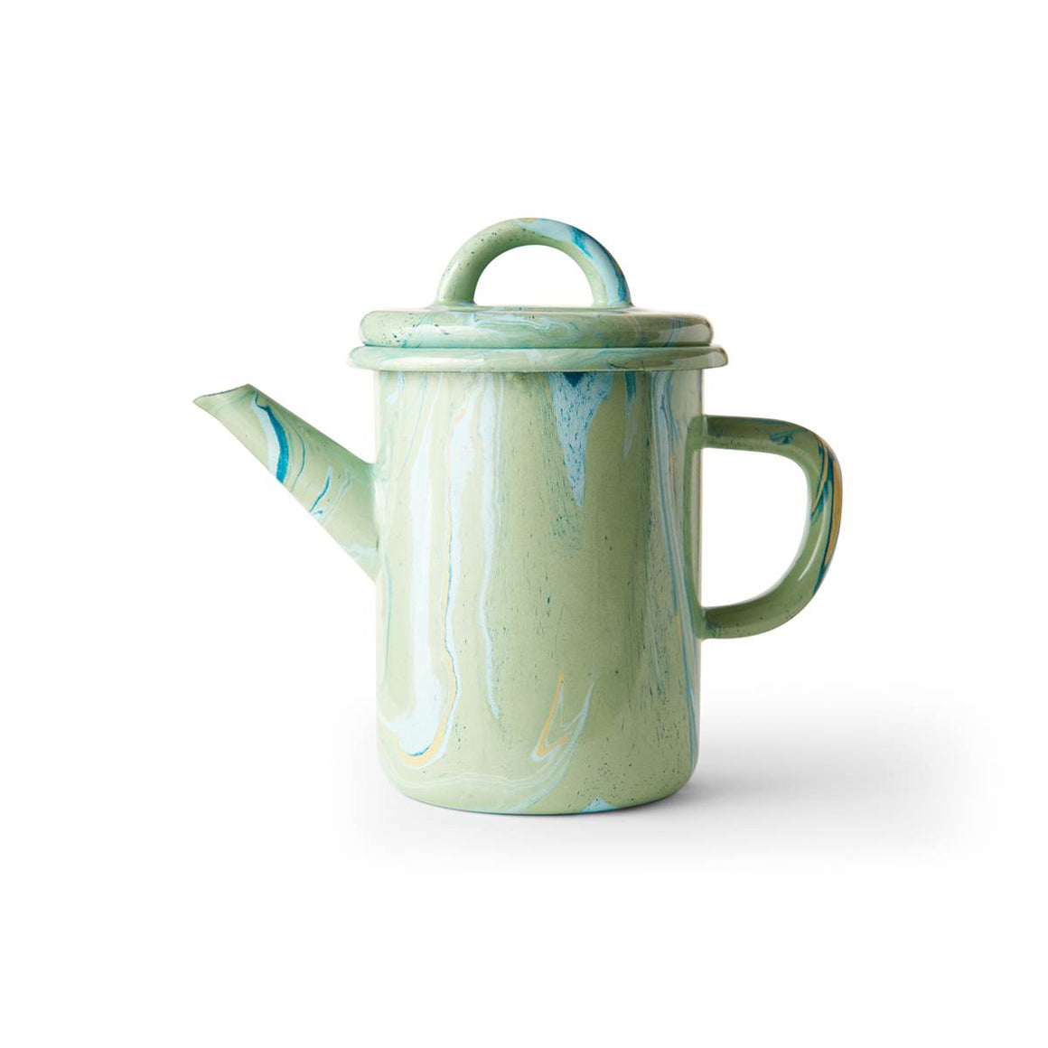 An enamel Teapot with beautiful marbled enamel in a range of contrasting tones of Turqouise, Green and light blue on a Mint Green Base.