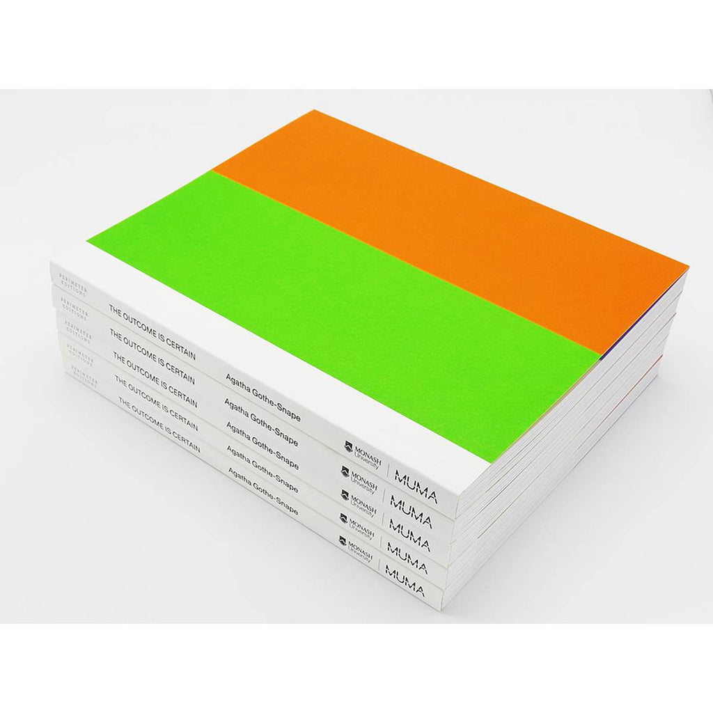 a pile of white books with black writing on the spine. The cover features a block colour design in neon green and orange.