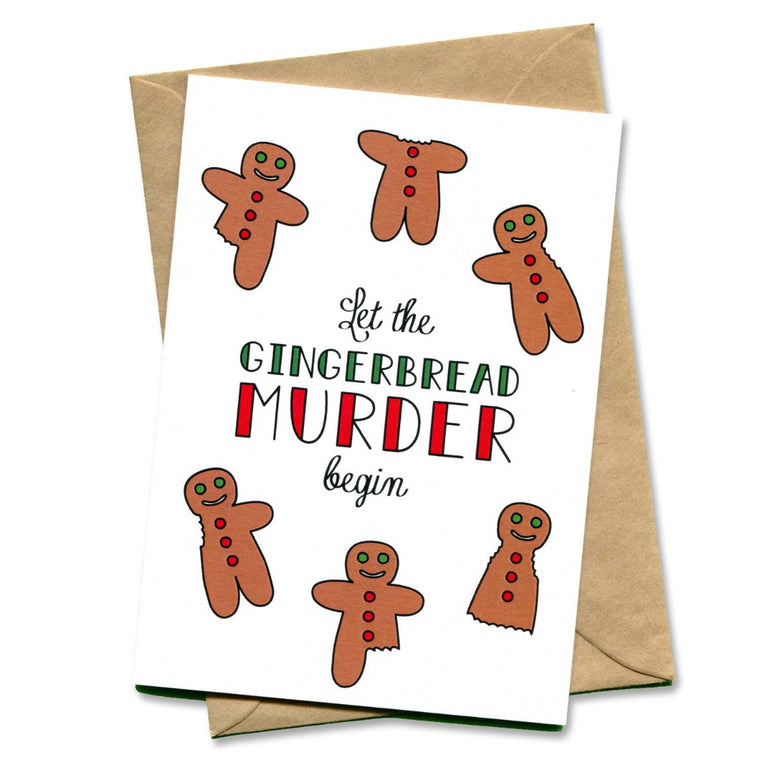 Image featuring card which has green and red text saying let the gingerbread murder begin which also includes a graphic illustration of a range of gingerbread men in different states of being eaten