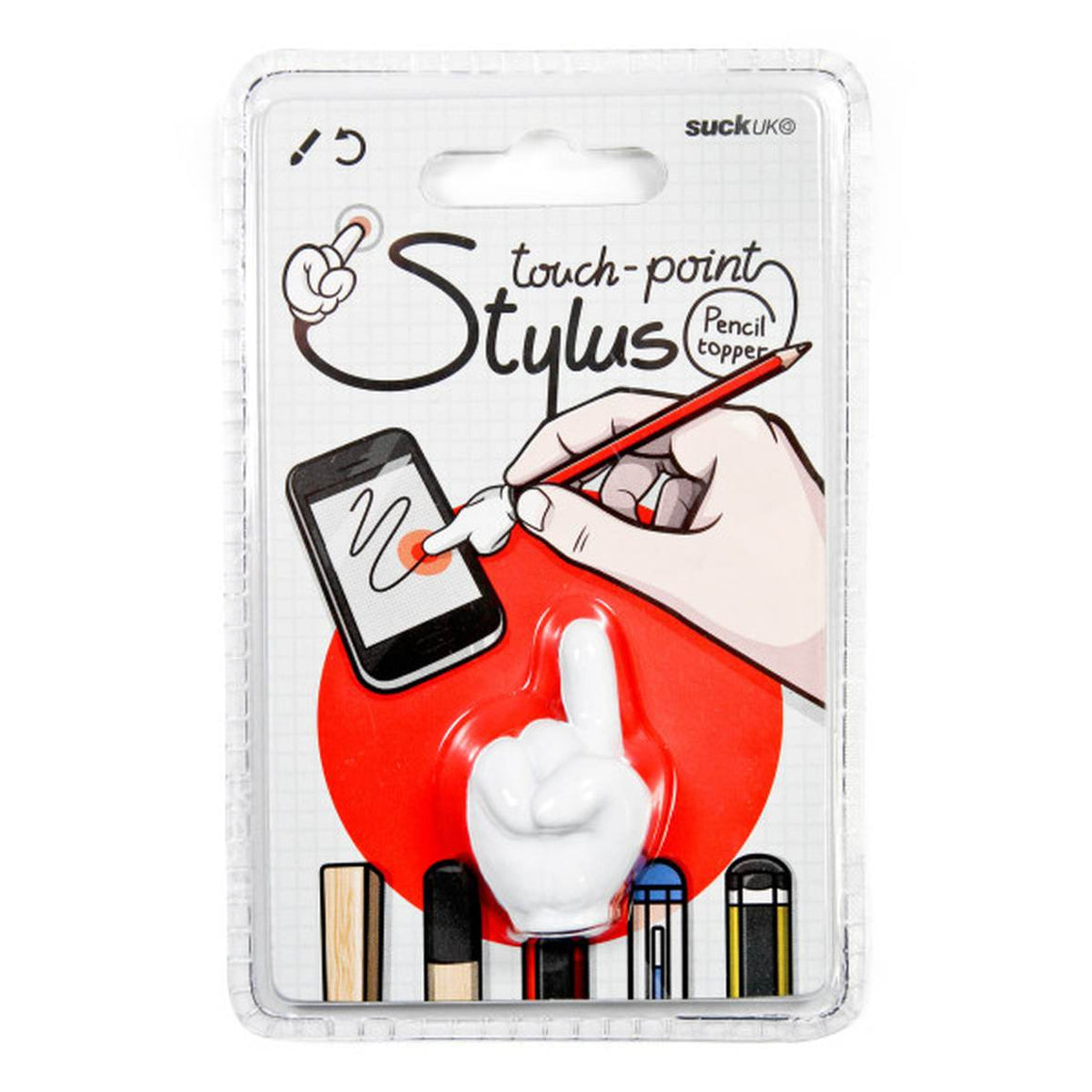 "A touchscreen stylus in the style of an attachable pen topper. Shaped like a white cartoon hand featuring a pointed finger and clenched fist. Show in its packaging which features the text ""Touch point Stylus Pencil Toppper"""