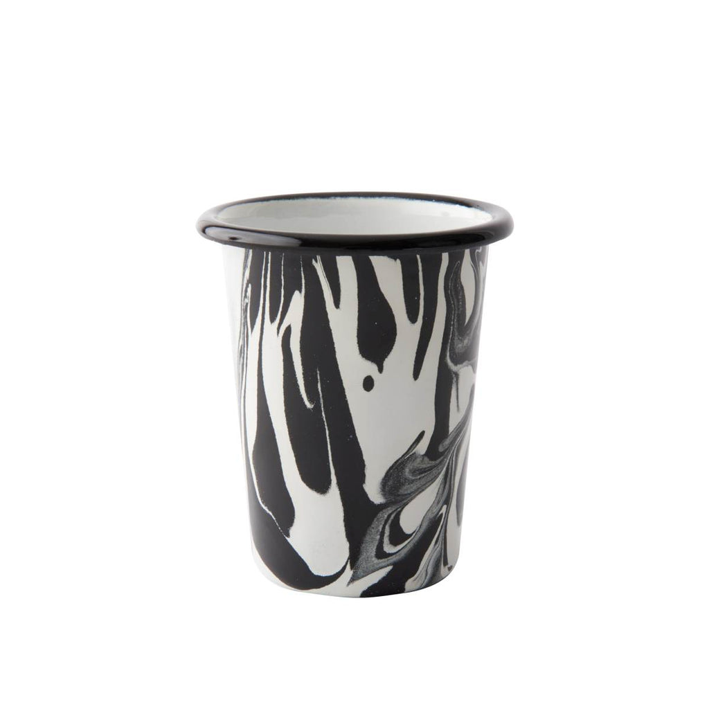 An enamel tumbler with beautiful marbled enamel in a range of contrasting tones of black and white.