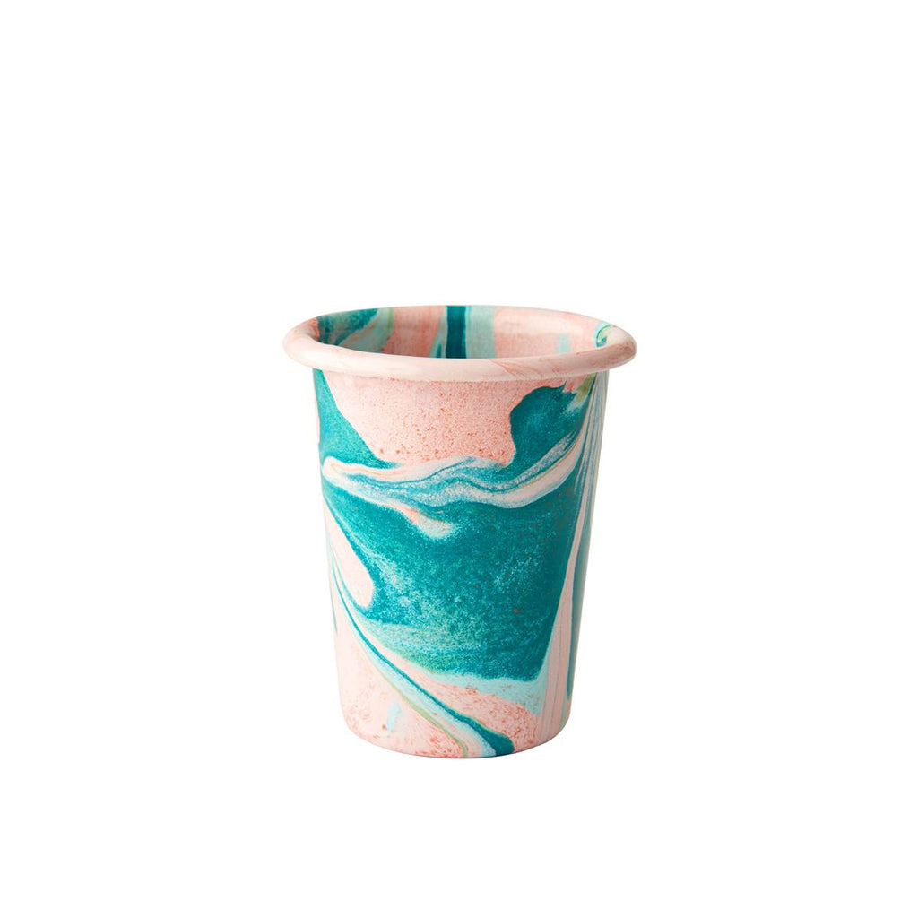 An enamel tumbler style cup with beautiful marbled enamel in a range of contrasting tones of Turqouise and Green on a Blush Pink Base.