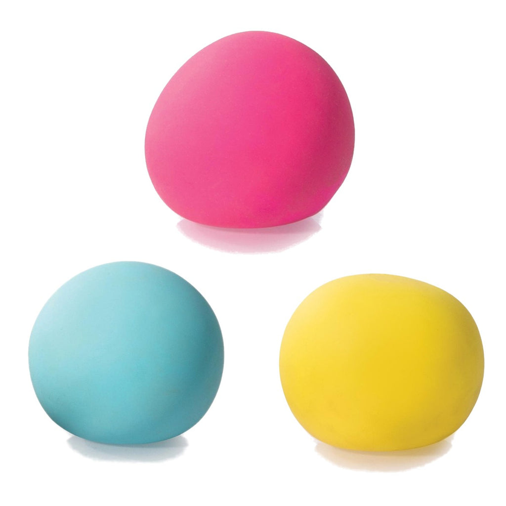 Three Sensory Squeeze Balls in Pink, Red and Blue.