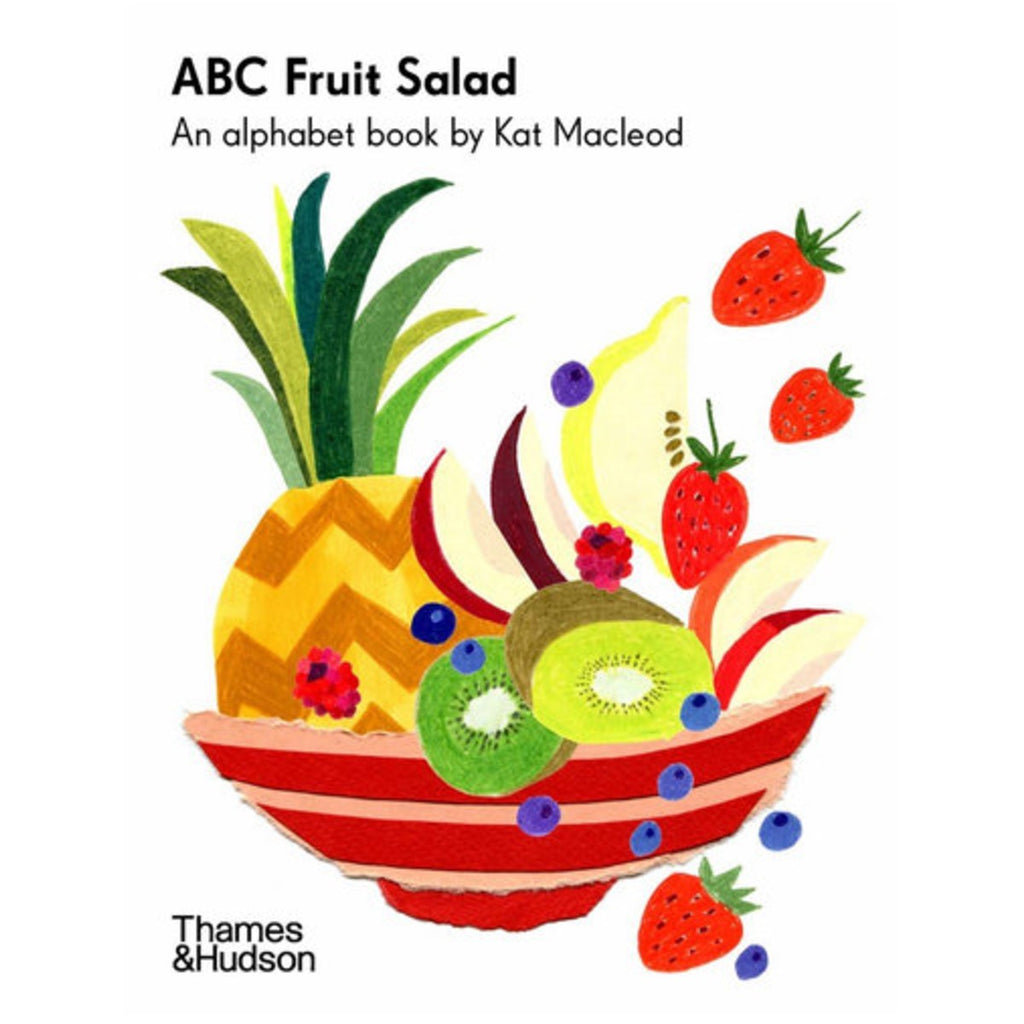 Image featuring a book cover which includes a watercolour and collage style fruit bowl, which includes a pineapple, kiwi, strawberry and various other fruits