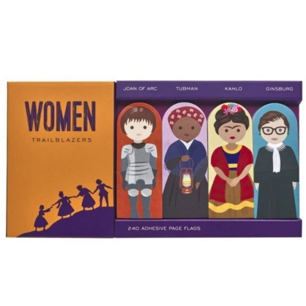 Image featuring the product in the centre, this product has features the colours orange and purple; and on the right has the adhesive paper flags which includes the graphically illustrated characters of joan of arc, harriet tubman, frida kahlo and ruth bater ginsburg