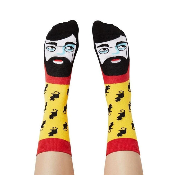 Socks Featuring an illustrated face of Henri Lautrec