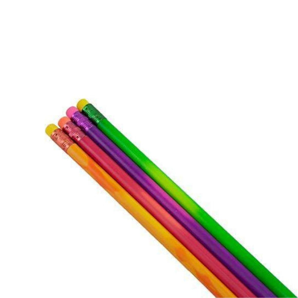 Image featuring four pencils with the colours orange, pink, purple and green