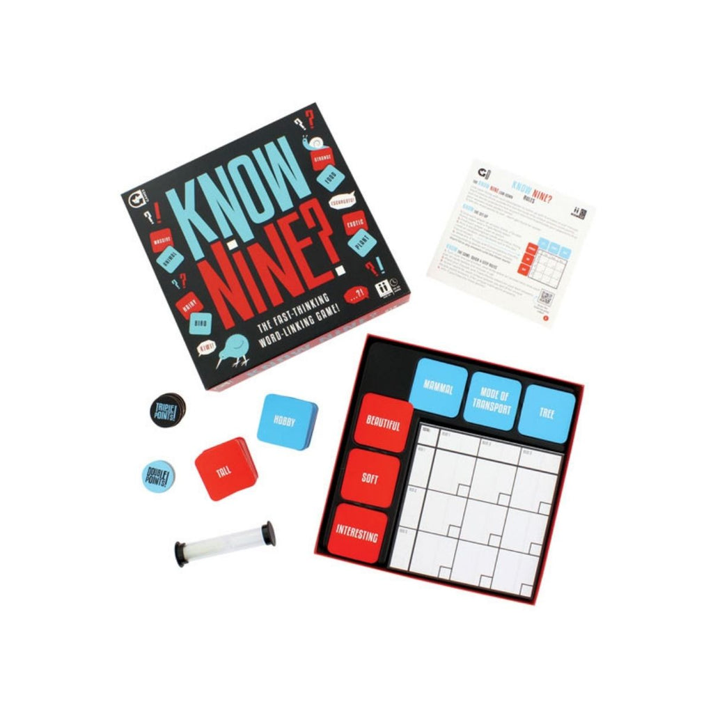 Image featuring the packaging of the know nine game, with the games board, instructions, cards and a timer