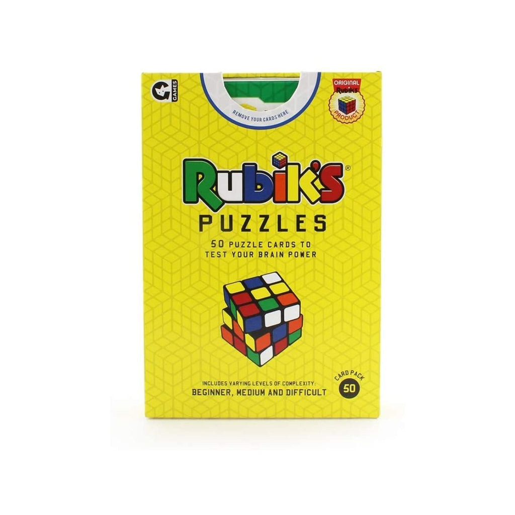 Image featuring the packaging of the Rubiks Puzzle game which includes a bright yellow background with a graphic illustration of a classic rubiks cube puzzle on the front