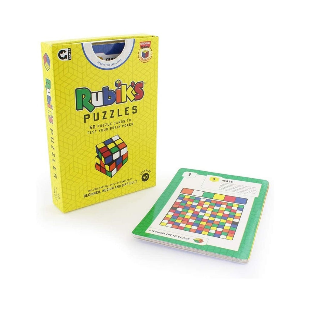 Image featuring the packaging of the Rubiks puzzle game and a selection of the games cards that are included