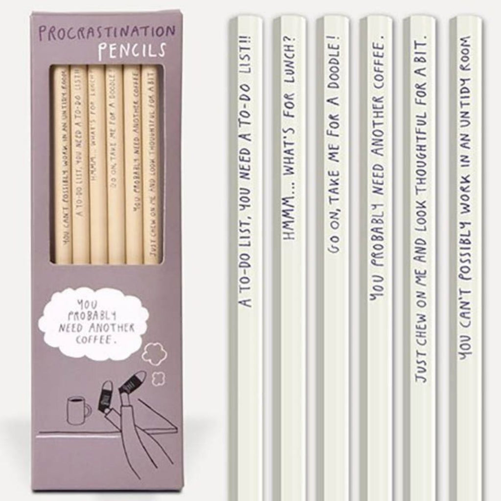 Image featuring the packaging of the Procrastination Pencils with the items displayed next to the packaging which have various statements written on them such as A To-Do List, You Need A To-Do List!!