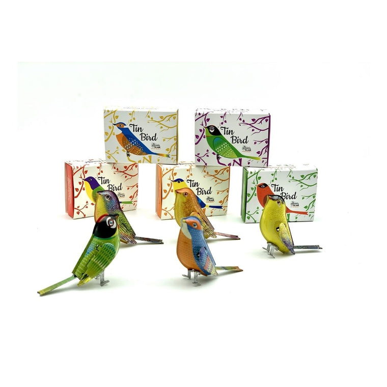 Photograph including five colourful tin birds in the front of the image with their cardboard packaging siting behind them