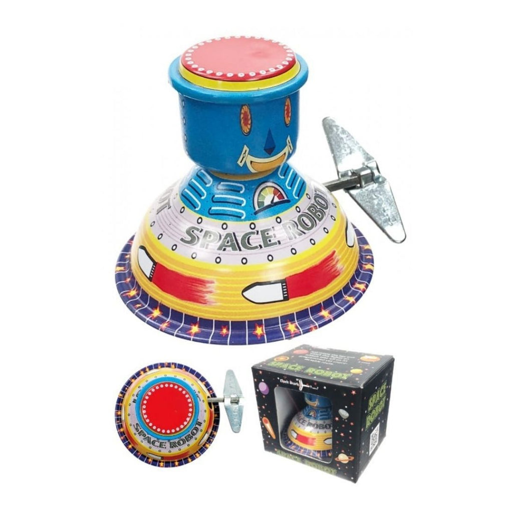 Image featuring the space robot item in the center which is blue with a smiley face on the front featuring the text space robot in the middle with it's key on the side - a top view can be seen on the bottom as well as a image of it's packaging