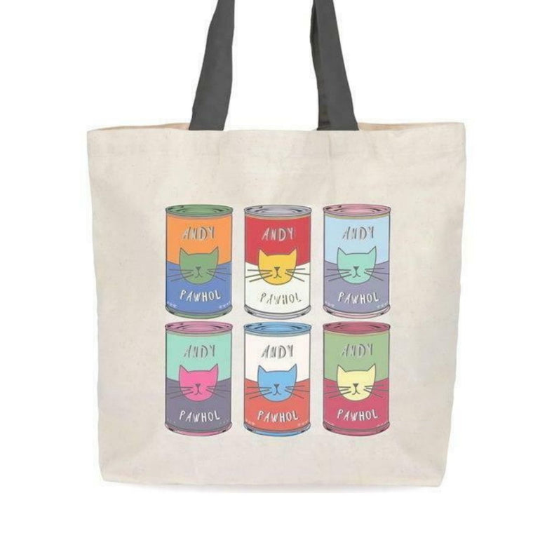 Image featuring a tote bag in the centre with an graphically illustrated version of Andy Warhol's Campbell Soup Cans which all features icons of cats in the middle of each can