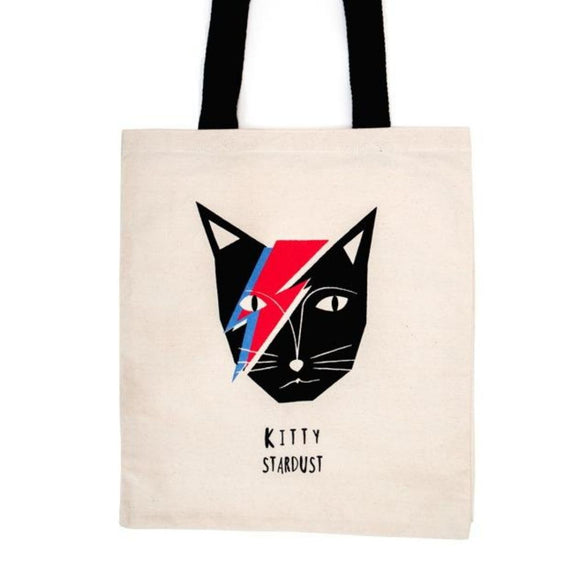 Image featuring a tote bag in the centre with a graphically illustrated David Bowie as a cat featuring his iconic character Ziggy Stardust