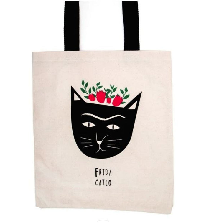 Image featuring the tote bag product in the centre with a graphically illustrated cat icon which has flower above it's head to reflect a feline representation of frida kahlo