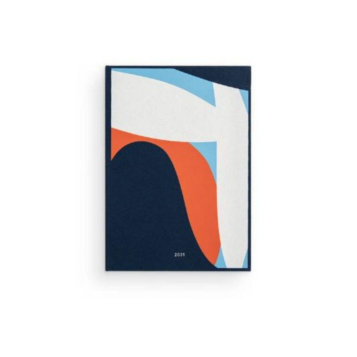 Image featuring the cover of the 2021 dialy non diary ruled which features the colours navy blue, pastel blue, white and orange which features abstract shapes