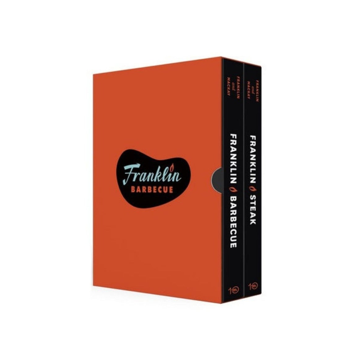 Image featuring a book cover in the center which is bright red with a black shape in the middle which says Franklin Barbecue and on the right hand side the spines of the book are facing out, both of them hold different titles such as Franklin Steak and Franklin Barbecue