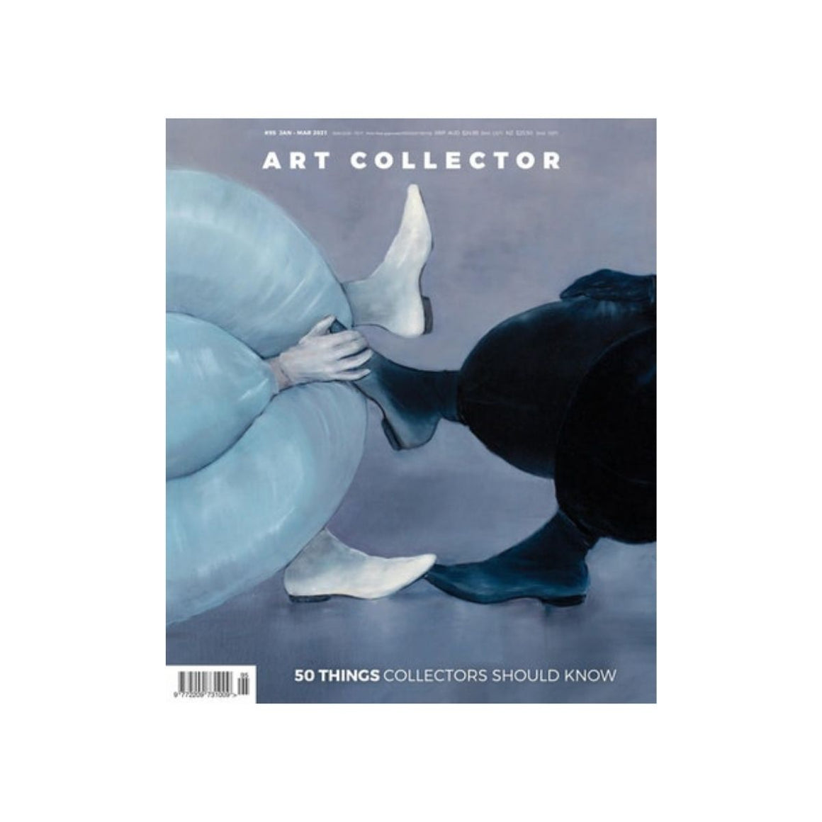 Magazine cover featuring a painting by Jelena Telecki which includes two pairs of legs one on the left is wearing white pants, gloves and shoes and the character on the right hand side is wearing black pants, gloves and shoes
