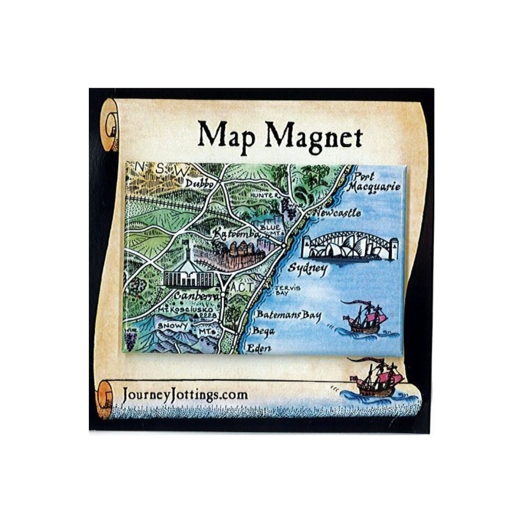 Image featuring the packaging of the Map Magnet which includes the magnet in the middle, this features an illustrated view of NSW which incudes sydney harbour, canberra, katoomba, port macquaire