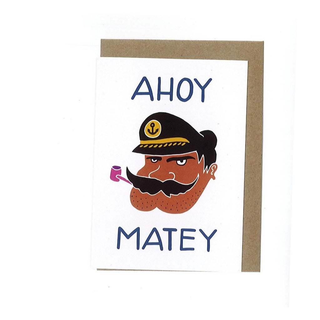 A6 size greeting card with an illustration of a pirate in the centre with the words Ahoy Matey featured on it