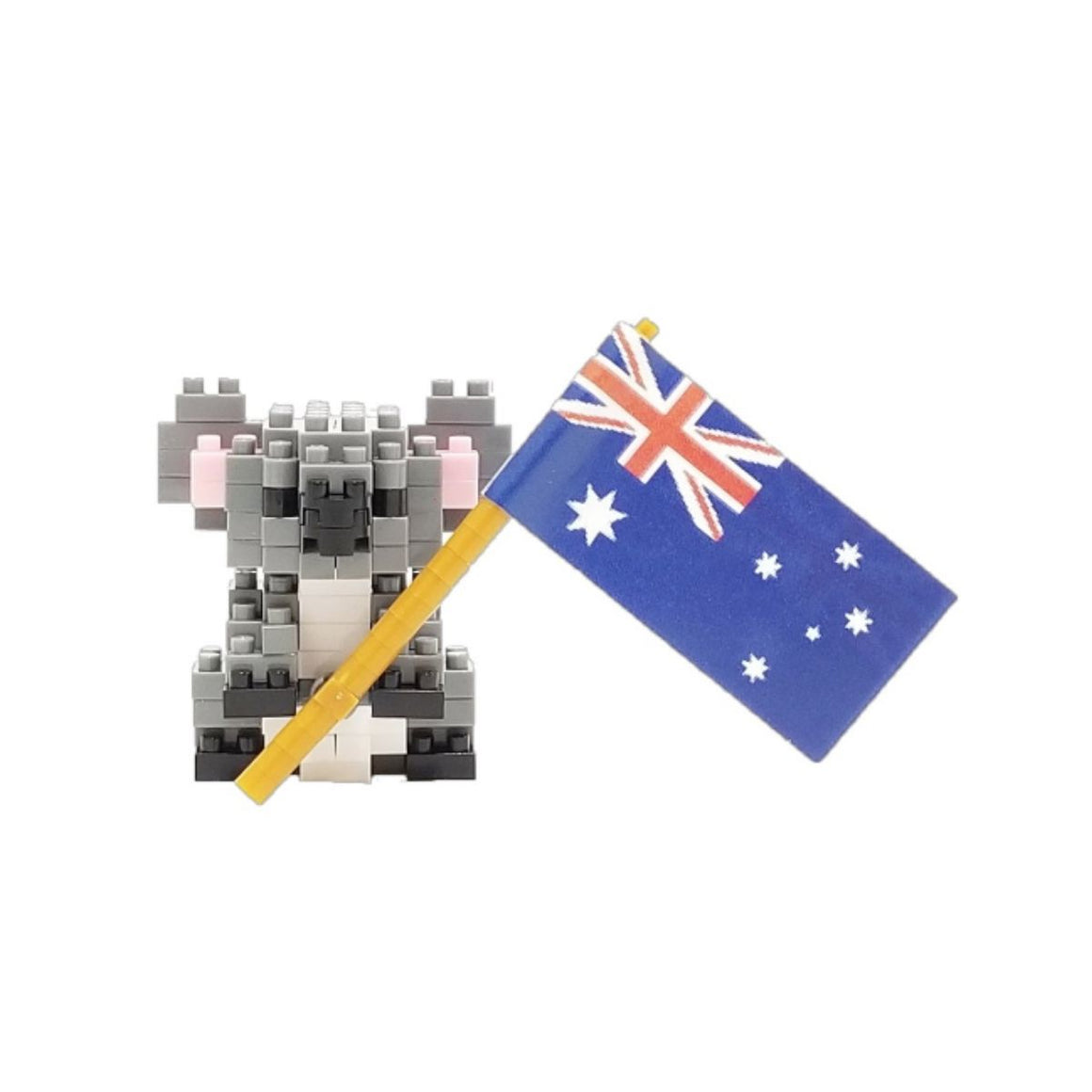 Micro-sized building blocks to replicate intricate detail of a Koala with the Australian flay featuring the colours grey, dark grey, light grey, black, red, white and blue