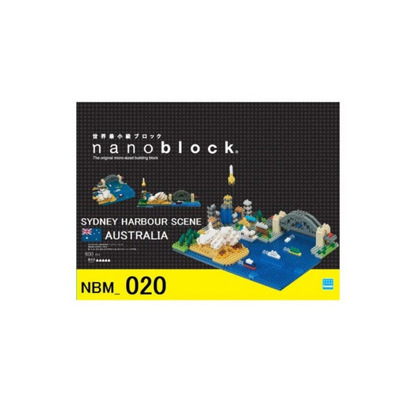 Micro-sized building blocks to replicate intricate detail of a Sydney Harbour Scene featuring the colours blue, grey, green, yellow and white