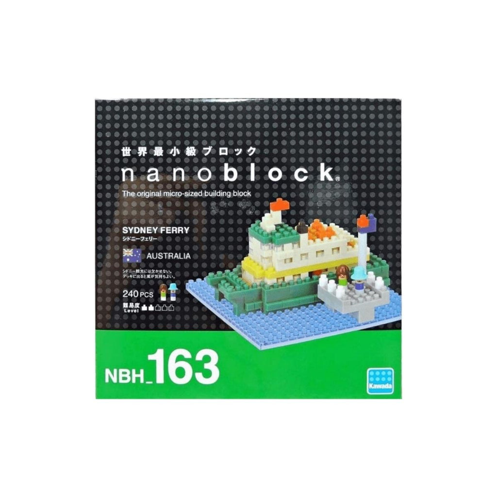 Micro-sized building blocks featuring an image of the completed nanoblock Sydney Ferry in a box