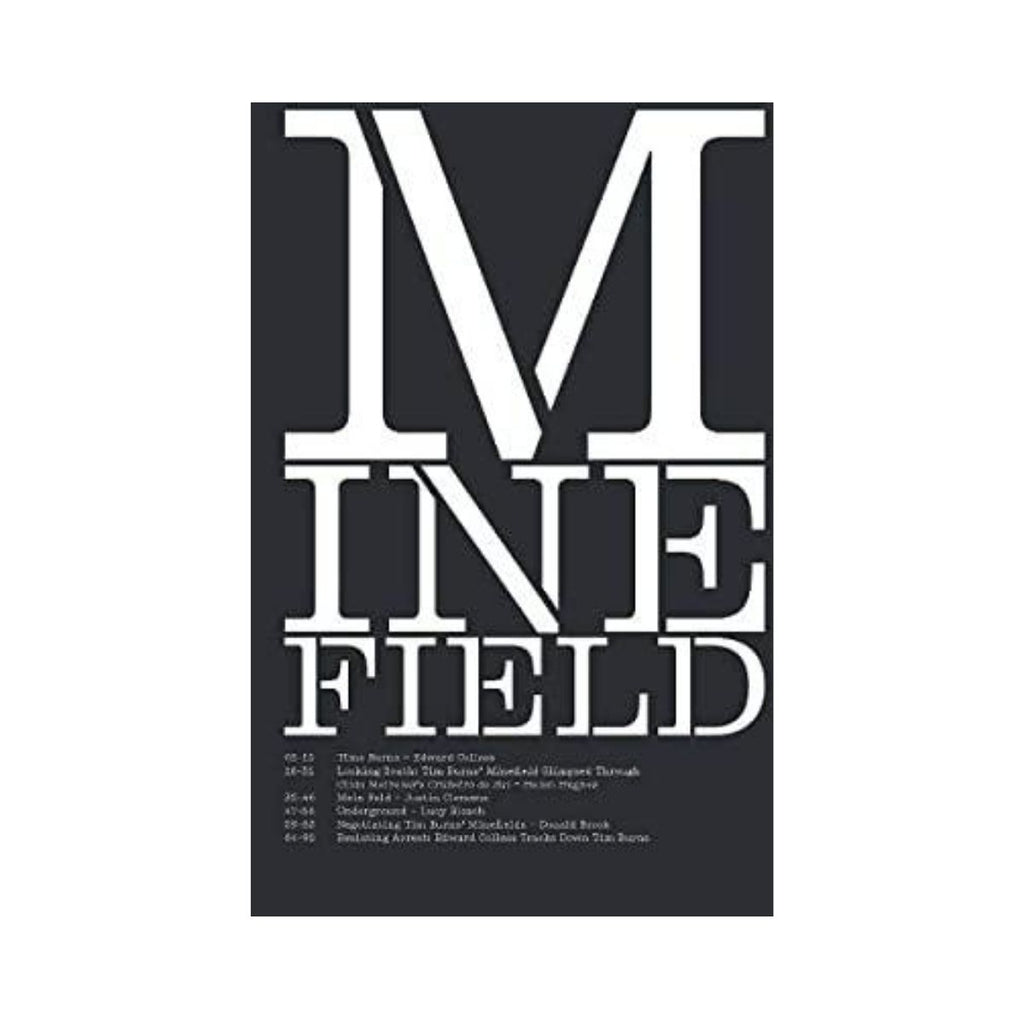 Book cover featuring a black cover with white text featuring the word minefield