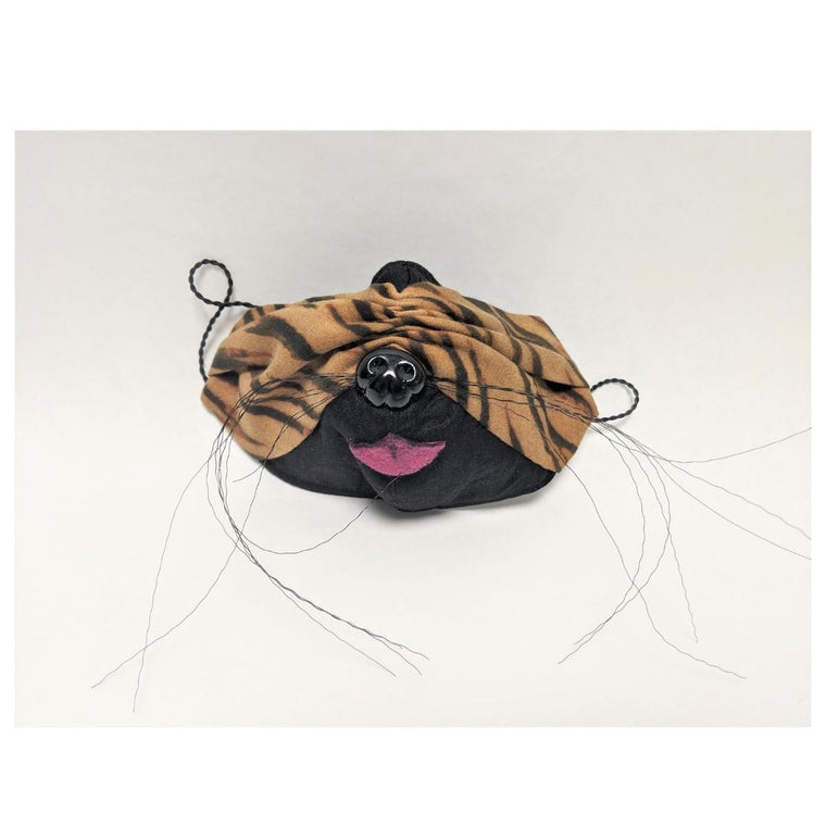 Mask featuring tiger print striped fabric including wire whiskers, pink fabric tongue and a black plastic dog nose