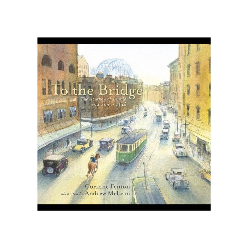Book cover featuring a illustrative scene of the sydney harbour city streets including cars, tram, man and horse
