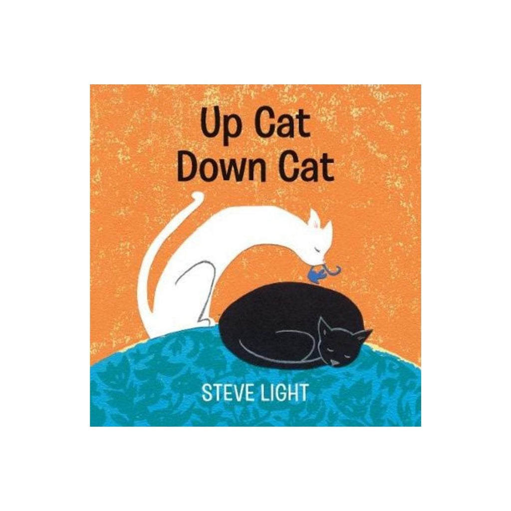 Book cover featuring a orange and blue background with a illustrative black cat sleeping with a white cat above it holding a mouse in its mouth