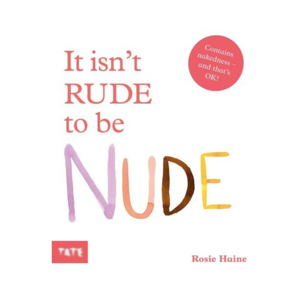 Book cover featuring a white background with red text stating it isn't rude to be nude