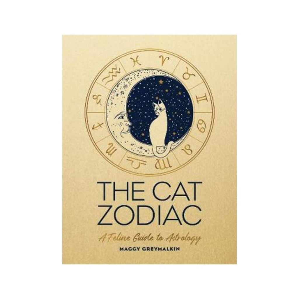 Book cover featuring a gold book with an graphic illustration of a moon, star signs with a cat sitting in the middle