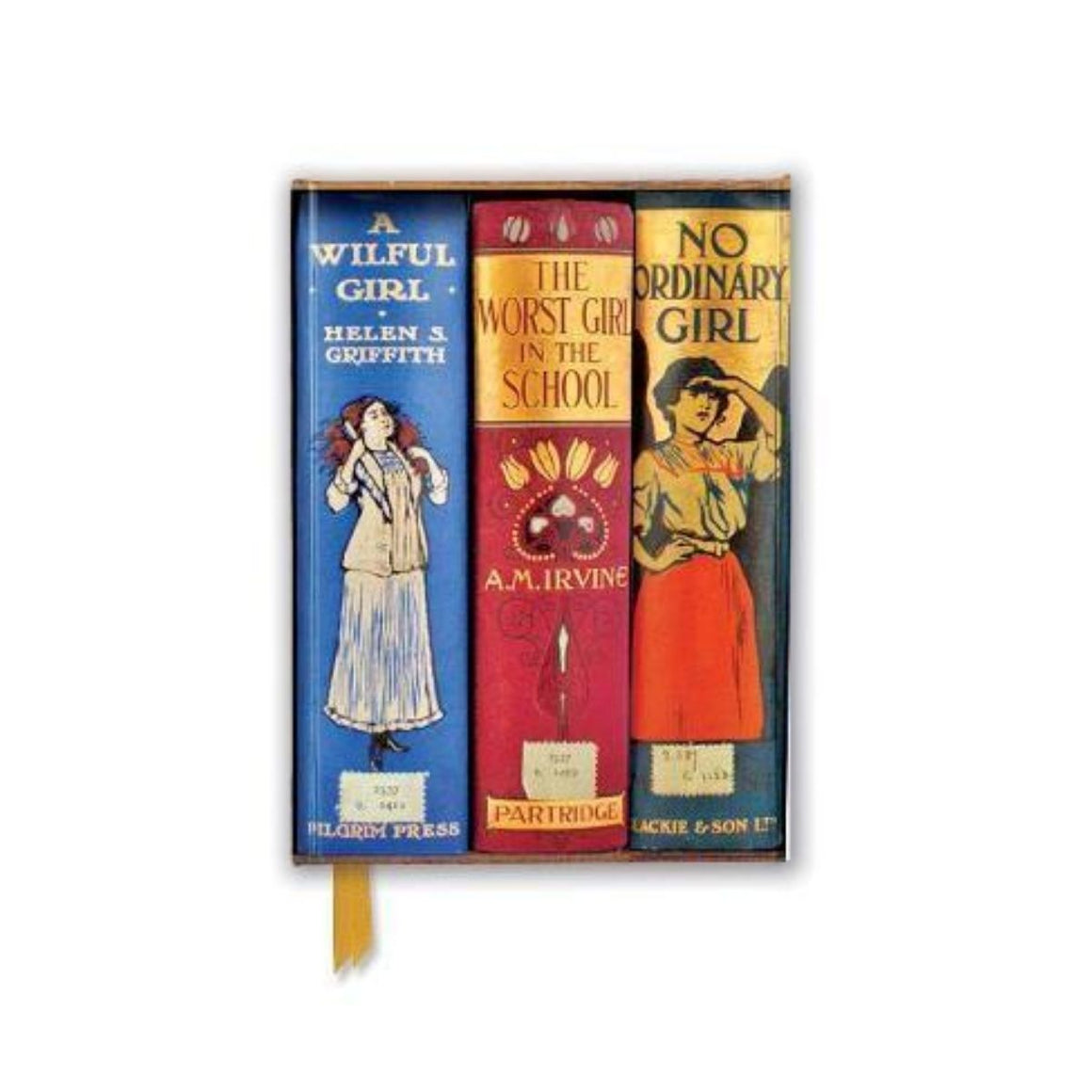 Notebook cover featuring a variety of different Bodleian Library book spines such as A wilful girl by helen s. griffith