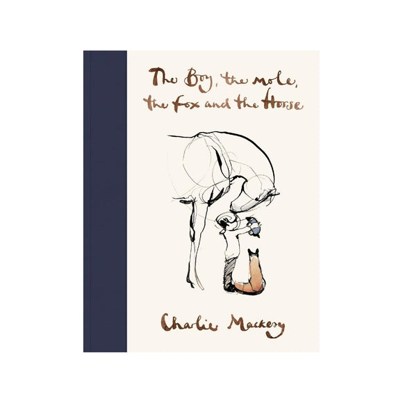 Book cover featuring a cream background including a delicate line illustration of a boy, mole, fox and horse
