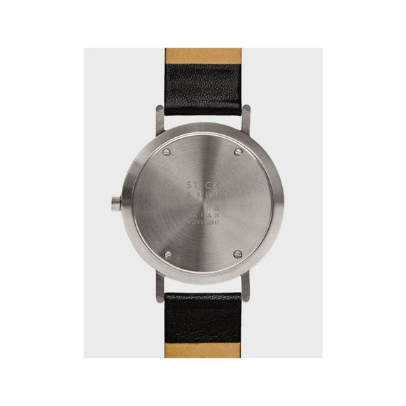 Image featuring a white background with a classically designed watch in the center which includes a Black leather strap, black face and silver case
