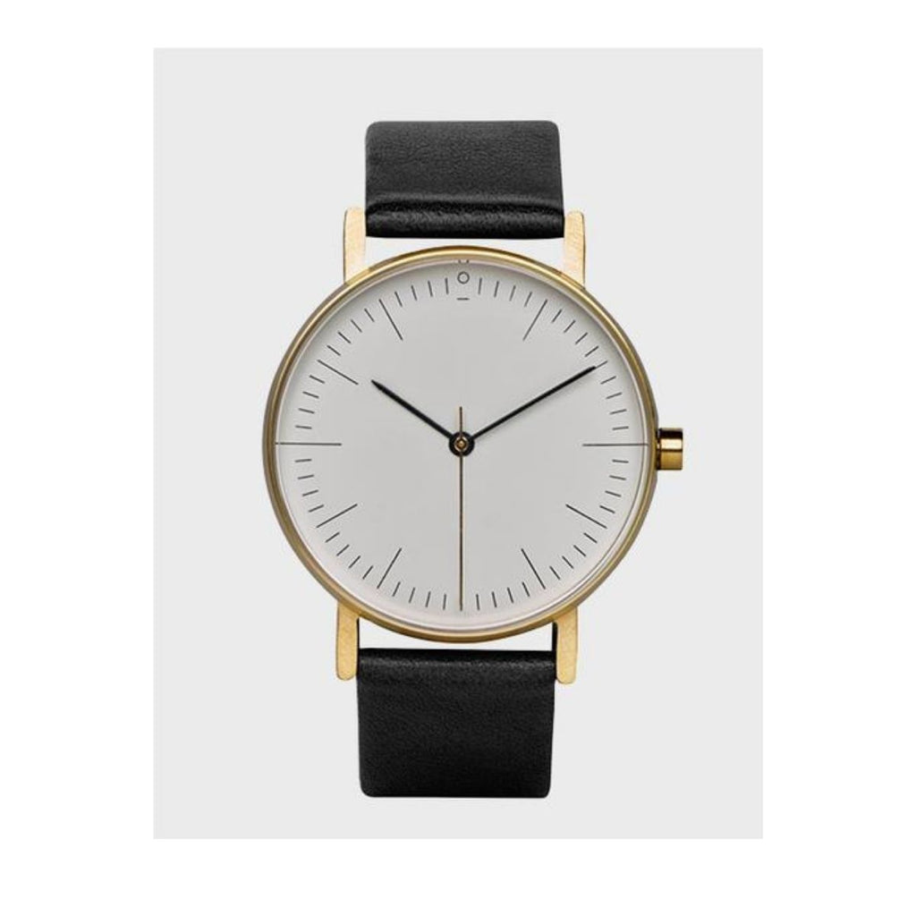 Image featuring a white background with a classically designed watch in the center which includes a black leather strap, white face and gold case