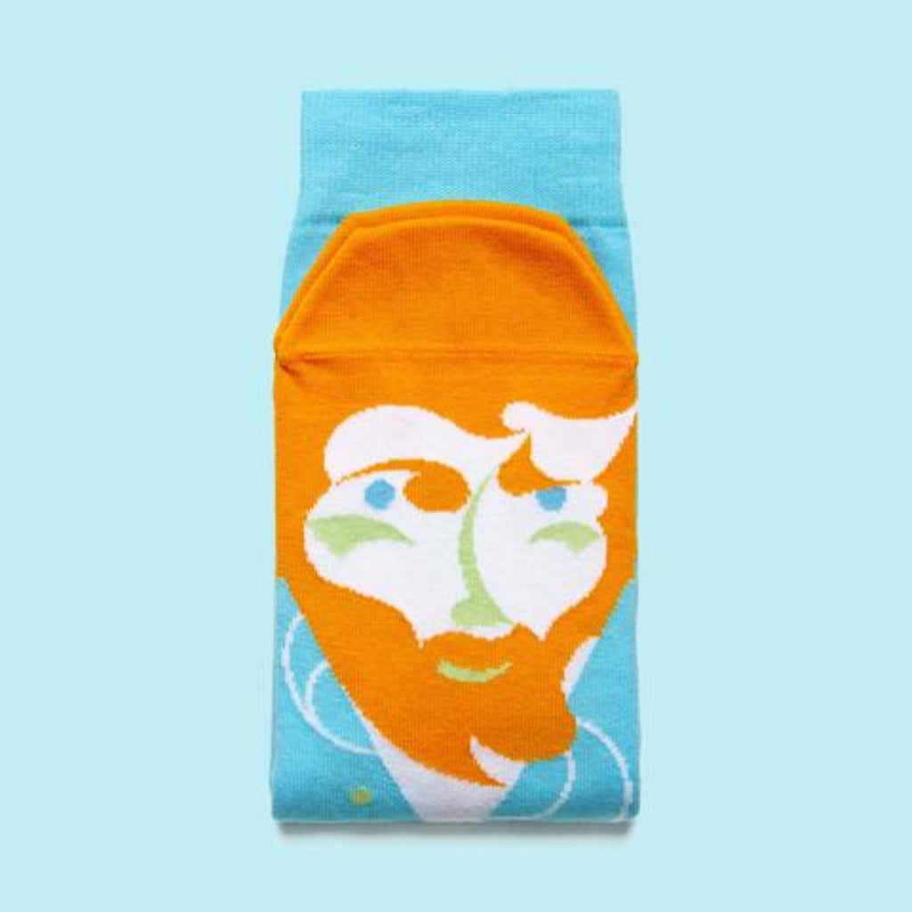 Image of a pair of socks which feature a graphic illustration of Vincent Van Gogh