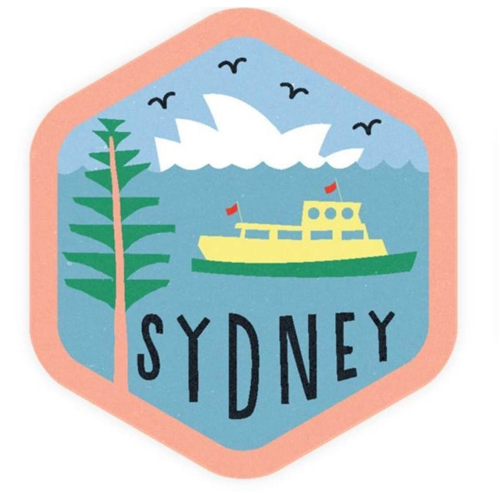 A hexagonal Vinyl bumper sticker with a vintage Style illustration of Sydney Icons.