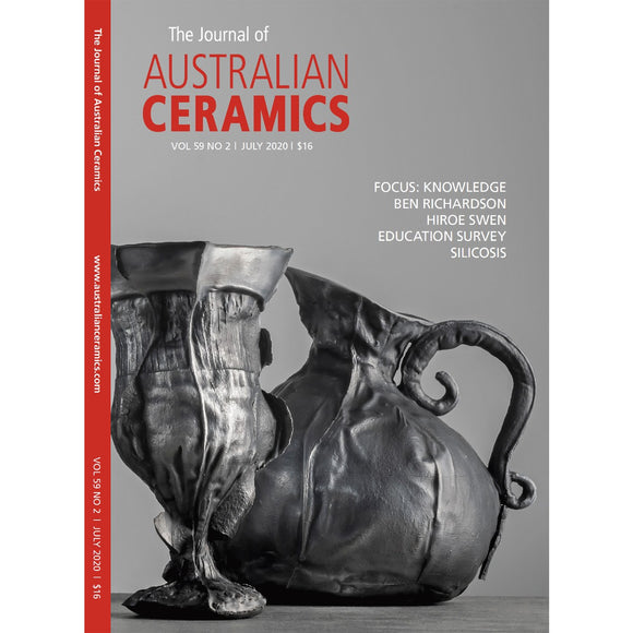 The cover of the Journal of Australian Ceramics. Cover artwork by Fiona Alvarez, Vanitas in Black, 2019