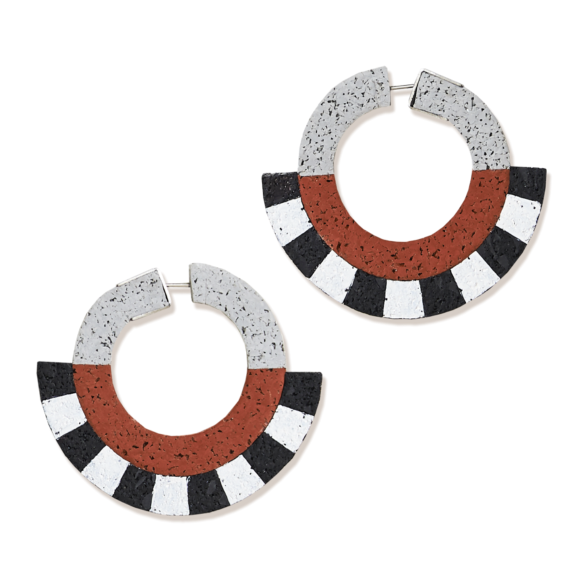 Image featuring a pair of earrings featuring a rubberized texture with the colours  grey, red, black and white