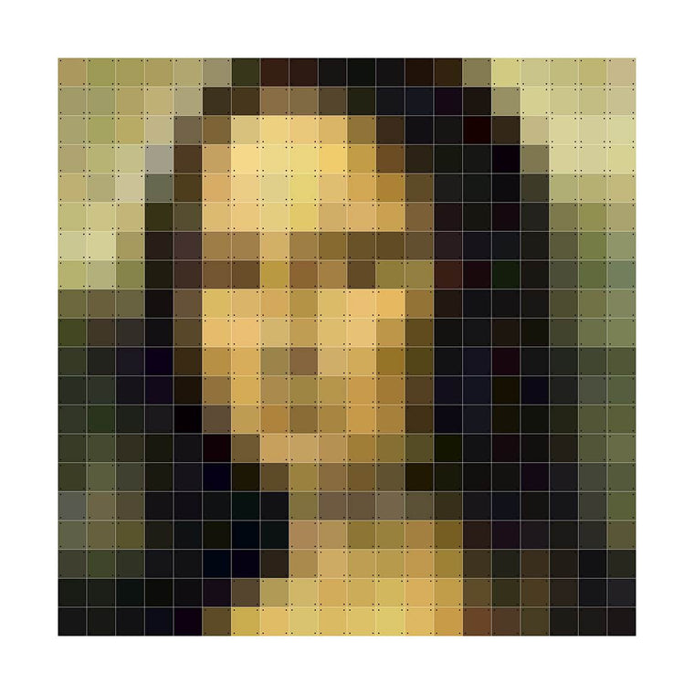 A wall hanging composed of multiple squares, linked together by connectors to form a larger image. This image is a pixelated version of a Mona Lisa by Leonardo Da Vinci